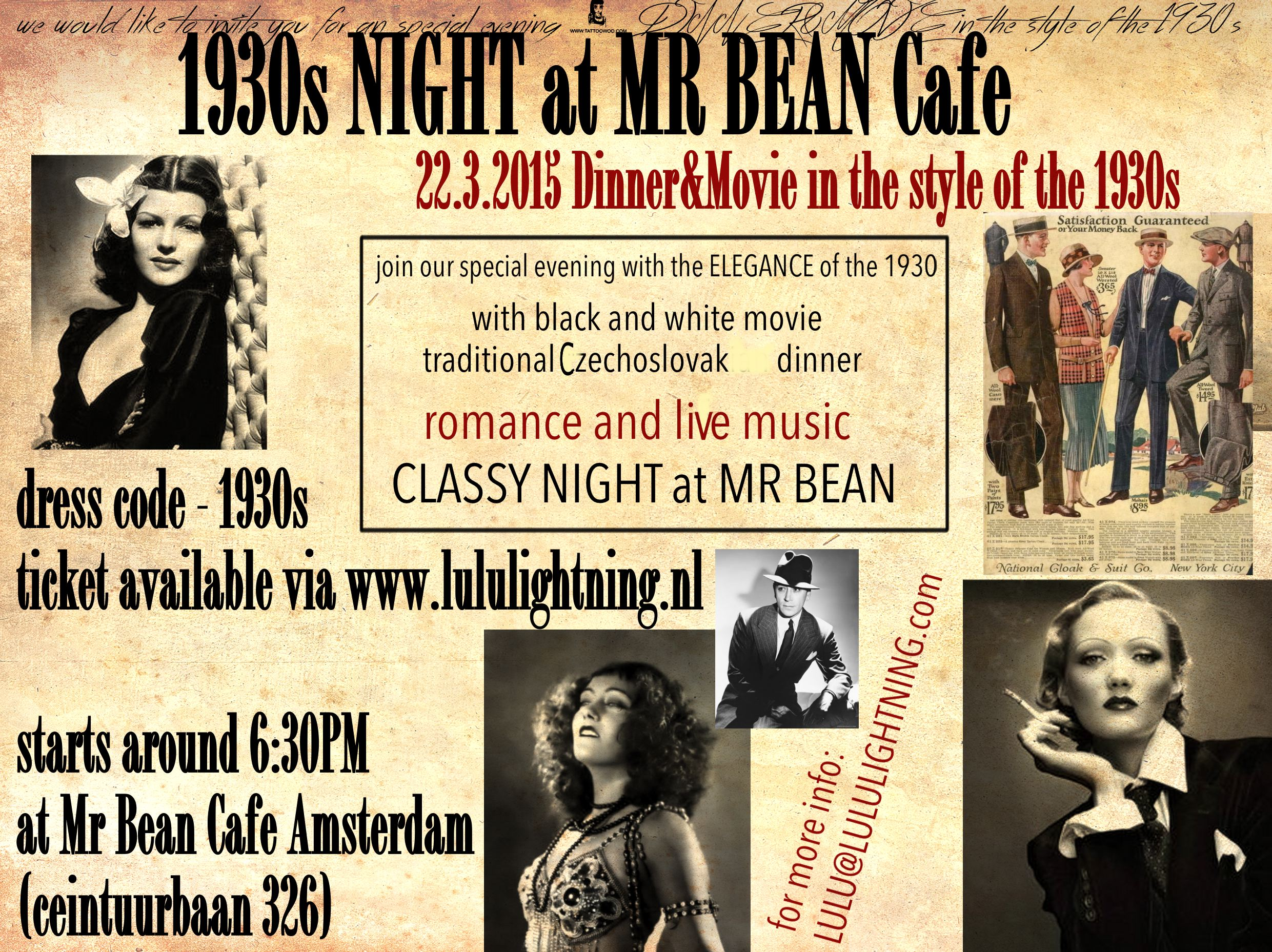 1930 flyers EVENT AT THE MR BEAN CAFE AMSTERDAM