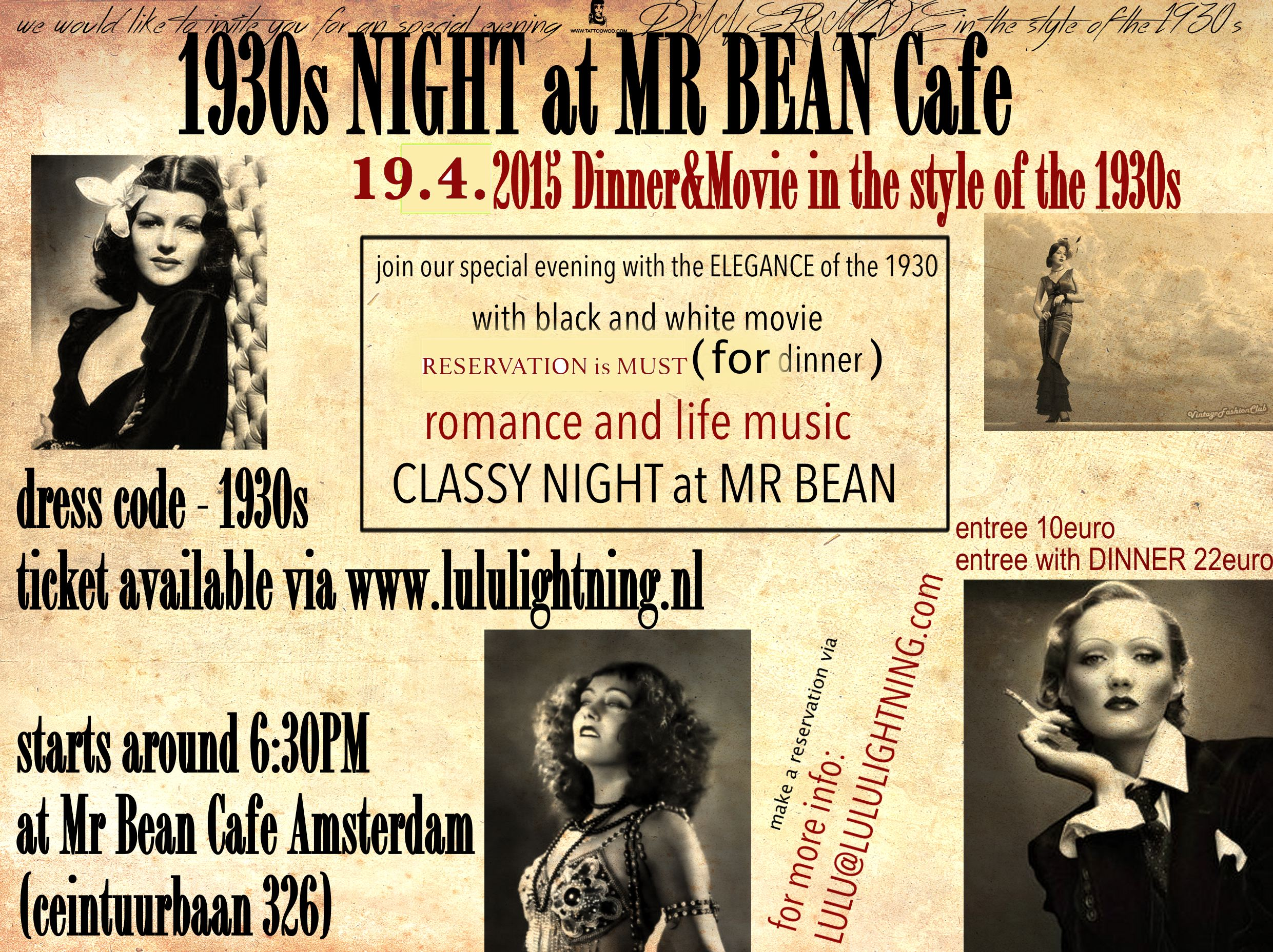 1930s DINNER MOVIE NIGHT at MR BEAN CAFE AMSTERDAM