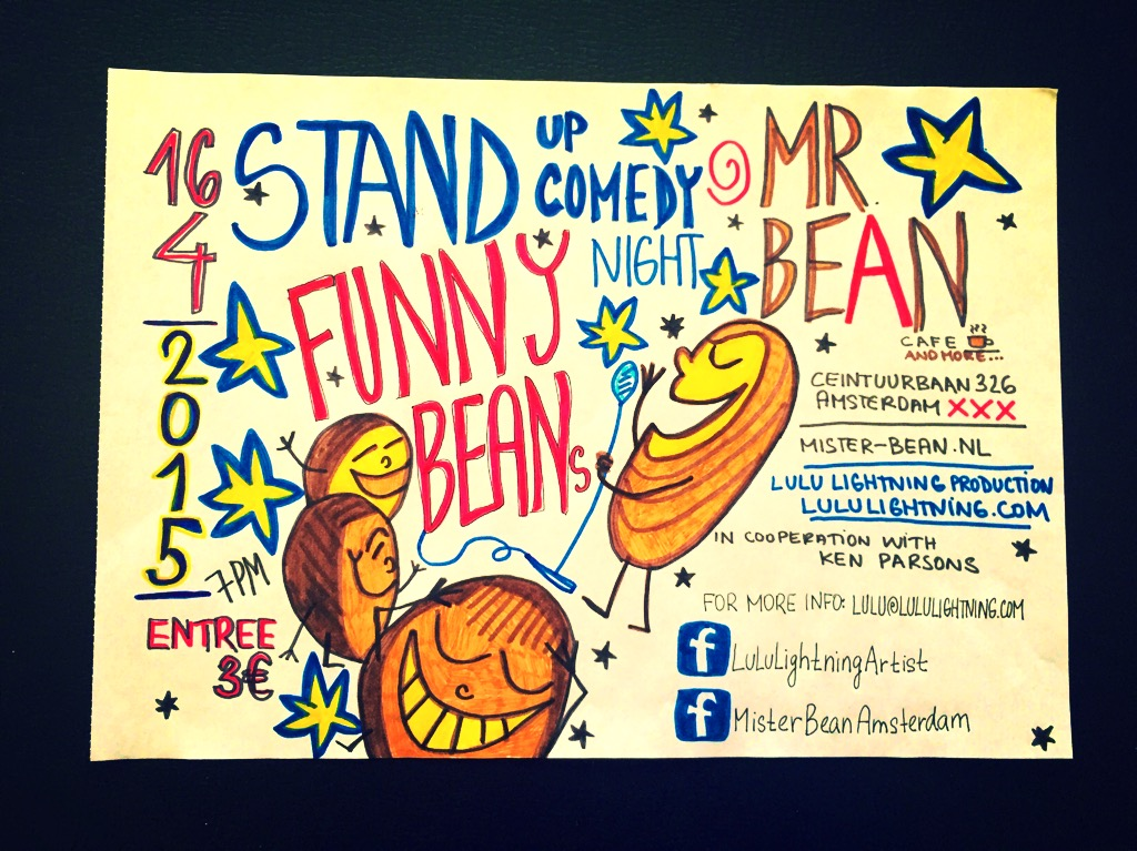 FUNNY BEANS stand up comedy at Mr Bean Cafe Amsterdam 16.4.2015